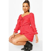 Womens Heart Polka Dot Sweetheart Neck Playsuit - red - 16, Red