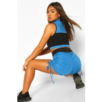 Womens Fit Booty Boost Ruched Gym Shorts - blue - 10, Blue