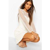 Womens Dobby Spot Mesh Skater Dress - White - 8, White