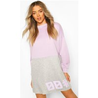 Womens Colour Block Slogan Sweatshirt Dress - purple - 16, Purple