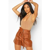 Womens Leather Look Zip Front High Waist Shorts - Brown - 10, Brown