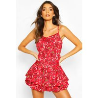 Womens Ditsy Floral Cami Ruffle Hem Playsuit - Red - 14, Red