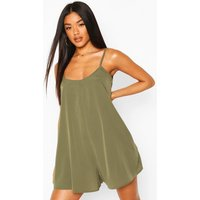 Womens Cami Style Woven Swing Playsuit - Green - 14, Green