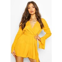 Womens Cheesecloth Flare Sleeve Playsuit - Yellow - 12, Yellow