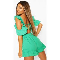Womens Ruffle Strap Woven Playsuit - Green - 12, Green