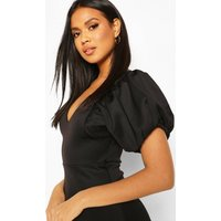 Womens Puff Ball Sleeve Skater Dress - Black - 8, Black
