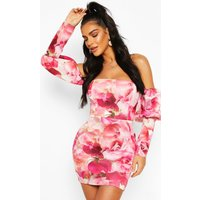 Womens Bonded Scuba Floral Puff Sleeve Bodycon Dress - Pink - 14, Pink