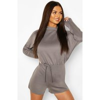 Womens High Neck Slouchy Loopback Playsuit - Grey - 14, Grey