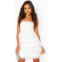 Womens Bandeau Feather Skirt Mini Dress - White - 10, White