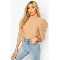 Womens Roll/Polo Neck Top With 3/4 Feature Sleeves - Beige - 10, Beige
