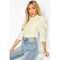 Womens Roll/Polo Neck Top With 3/4 Feature Sleeves - Tan - 14, Tan