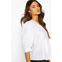 Womens Puff Sleeve Cotton Mix Blouse - White - 6, White