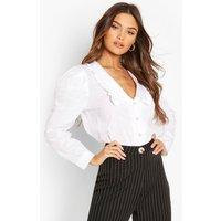 Womens Pearl Button Collar Cotton Mix Shirt - White - 12, White