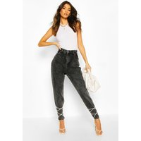 Womens High Rise Acid Wash Mom Jean - Black - 6, Black