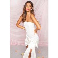 Womens Occasion Bandeau Bow Detail Mini Dress - white - 6, White
