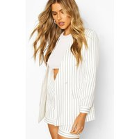 Womens Pinstripe Collarless Double Breasted Blazer - White - 14, White