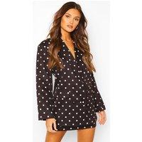 Womens Polka Dot Double Breasted Blazer - black - 12, Black