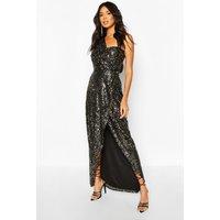 Womens Boohoo Occasion Sequin Drape Detail Maxi - Black - 14, Black