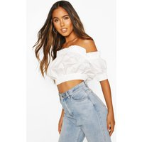 Womens Cotton Shirred Off The Shoulder Crop Top - white - 6, White