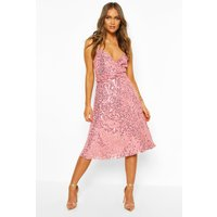 Womens Bridesmaid Occasion Sequin Detail Midi Dress - Pink - 10, Pink