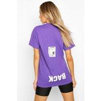 Womens Back Print Oversized T-Shirt - purple - XL, Purple