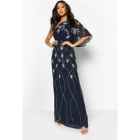 Womens Bridesmaid Hand Embellished One Shoulder Cape Maxi - Navy - 12, Navy
