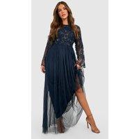 Womens Bridesmaid Hand Embellished Long Sleeve Maxi Dress - Navy - 16, Navy