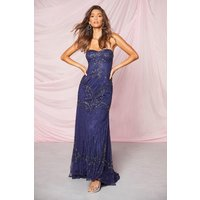 Image of Womens Bridesmaid Bandeau Hand Embellished Maxi Dress - Navy - 10, Navy