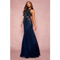 Image of Womens Bridesmaid Hand Embellished Halter Maxi Dress - Navy - 10, Navy
