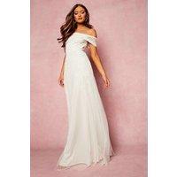 Womens Bridesmaid Hand Embellished Bow Detail Maxi - White - 12, White