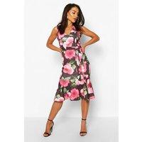 Womens Large Floral Print Belted Frill Hem Midi Dress - Black - 10, Black