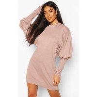 Womens Puff Sleeve Extreme Cuff Sweatshirt Dress - pink - 8, Pink