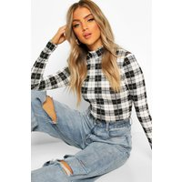 Womens Check High Neck Longsleeve Top - Black - 8, Black