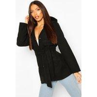Womens Pocket Belted Wool Look Hooded Coat - Black - 8, Black