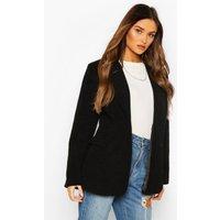 Womens Luxe Brushed Wool Look Oversized Blazer Coat - Black - 14, Black