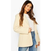 Womens Luxe Brushed Wool Look Oversized Blazer Coat - White - 16, White