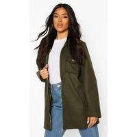 Womens Utility O Ring Wool Look Shirt Jacket - green - 16,