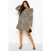 Womens Leopard Print Ruffle Detail Drop Hem Shift Dress - Black - 8, Black