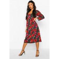 Womens Mix Polka Dot Rose Print Puff Sleeve Midi Dress - Black - 12, Black