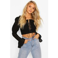 Womens Broderie Anglais Lace Up Flared Sleeve Crop Top - black - 16, Black