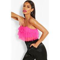 Womens Mesh Ruffle Tierred Crop Top - Pink - 16, Pink