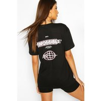 Womens Impossible Back Print T-Shirt - black - M, Black