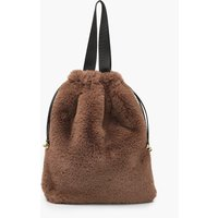 Womens Faux Fur Multiway Tote & Rucksack - brown - One Size, Brown