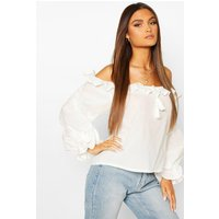 Womens Cotton Ruffle Oversized Blouse - White - 12, White