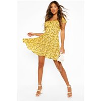Womens Floral Lace Up Skater Dress - Yellow - 18, Yellow