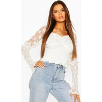 Womens Lace Shirred Puff Sleeve Top - White - 12, White