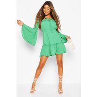 Womens Off The Shoulder Mini Dress - Green - 12, Green