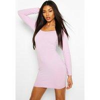 Womens Jumbo Rib Sqaure Neck Bodycon Dress - purple - 6, Purple