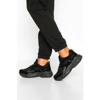 Womens Chunky Sole Panelled Trainers - Black - 5, Black