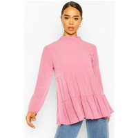 Womens Woven Smock Tunic Top - pink - 6, Pink